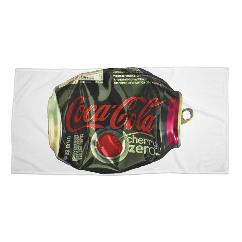 Cherry Coke Crushed Accessories Beach Towel by duocuspdesign Artist Shop