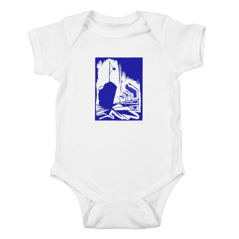Docked/Nautical Woodcut Kids Baby Bodysuit by duocuspdesign Artist Shop