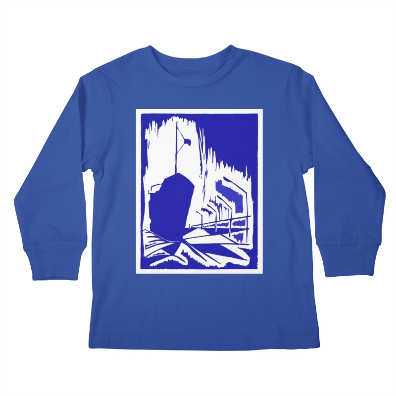 Docked/Nautical Woodcut Kids Longsleeve T-Shirt by duocuspdesign Artist Shop