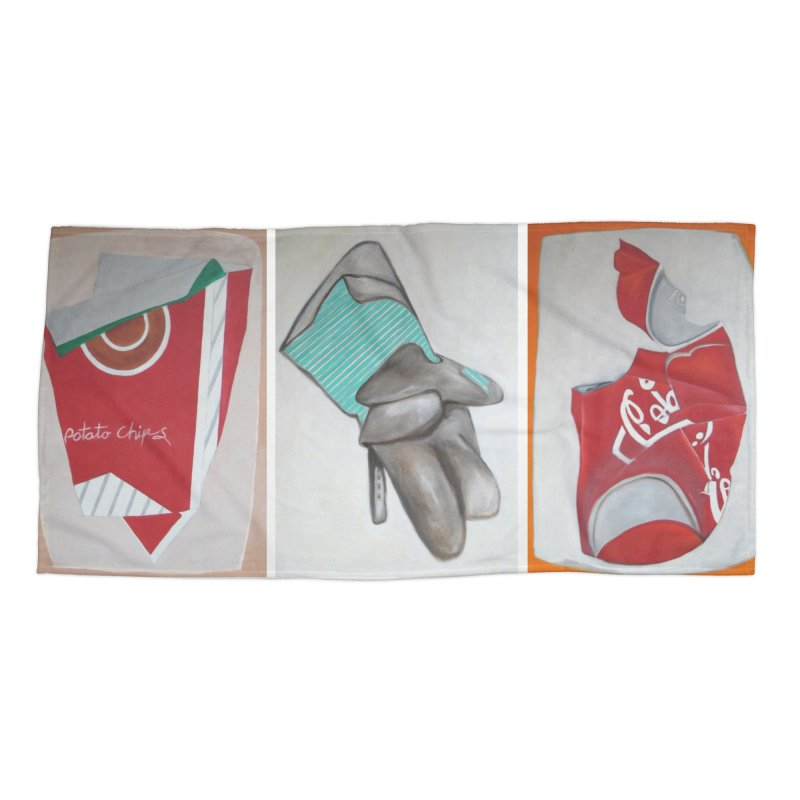 Crushed/Chips, Glove & Cola Triptych Accessories Beach Towel by duocuspdesign Artist Shop