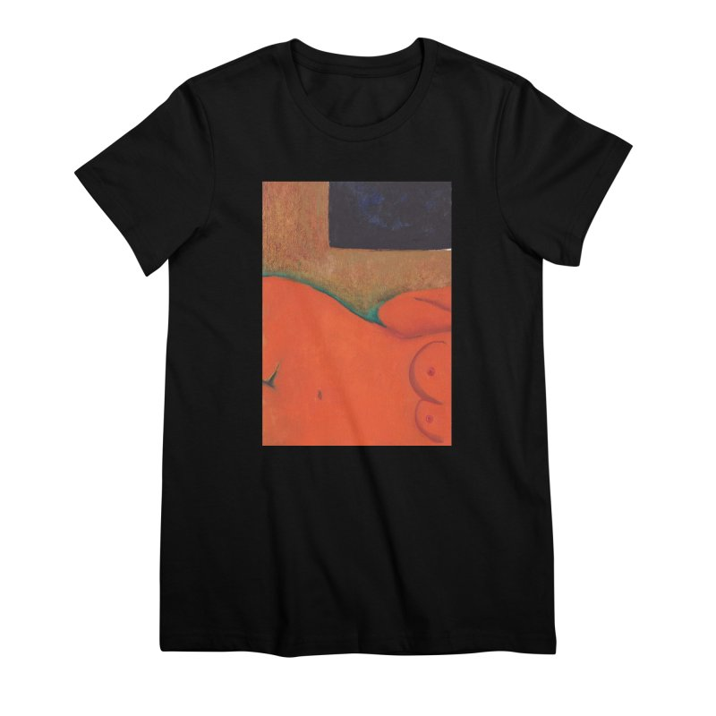 Orange Reclining Nude on Sofa Panel C Women's T-Shirt by duocuspdesign Artist Shop