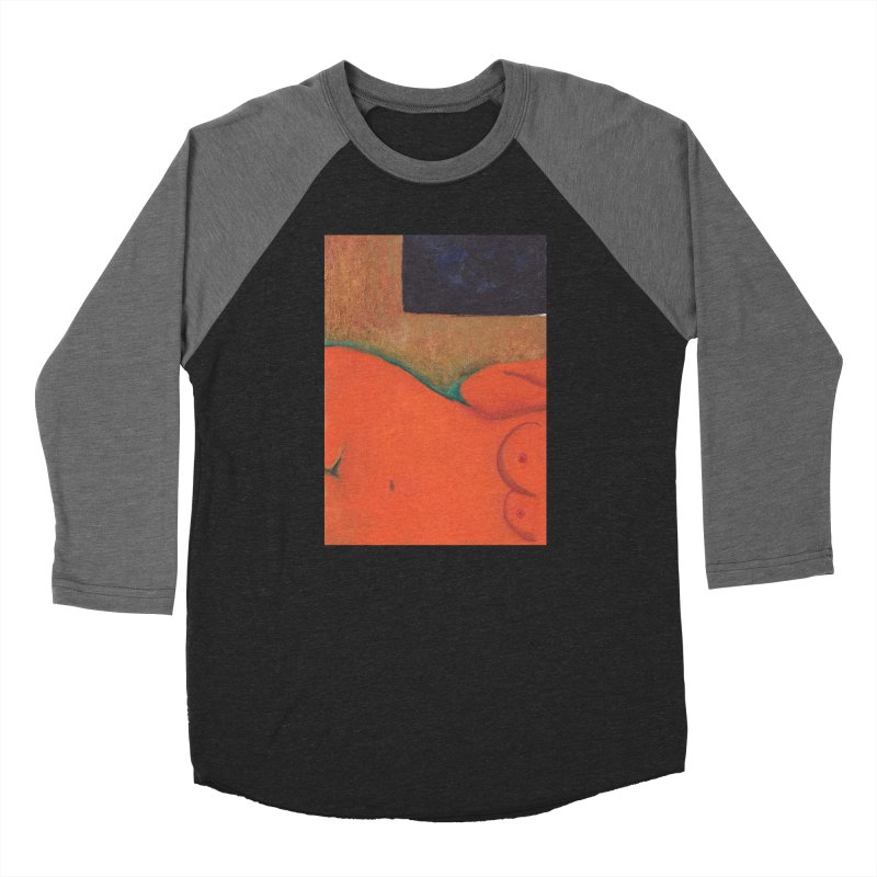 Orange Reclining Nude on Sofa Panel C Women's Longsleeve T-Shirt by duocuspdesign Artist Shop