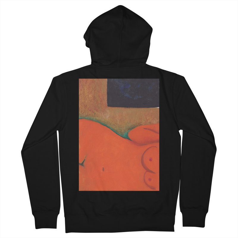 Orange Reclining Nude on Sofa Panel C Women's French Terry Zip-Up Hoody by duocuspdesign Artist Shop