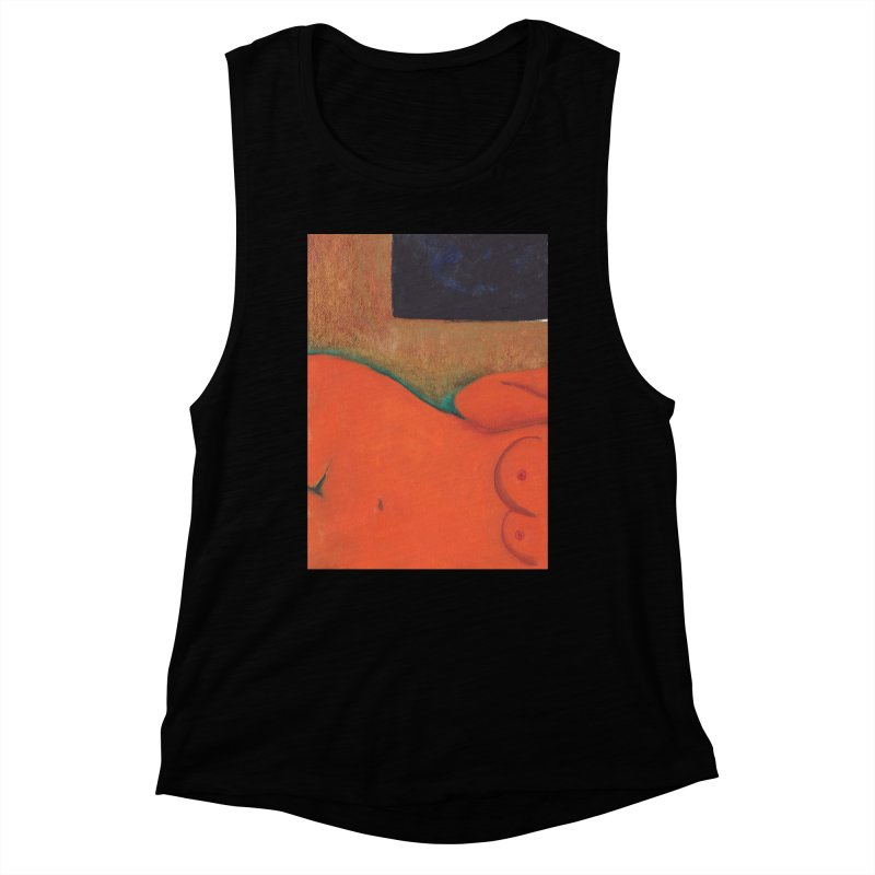 Orange Reclining Nude on Sofa Panel C Women's Tank by duocuspdesign Artist Shop