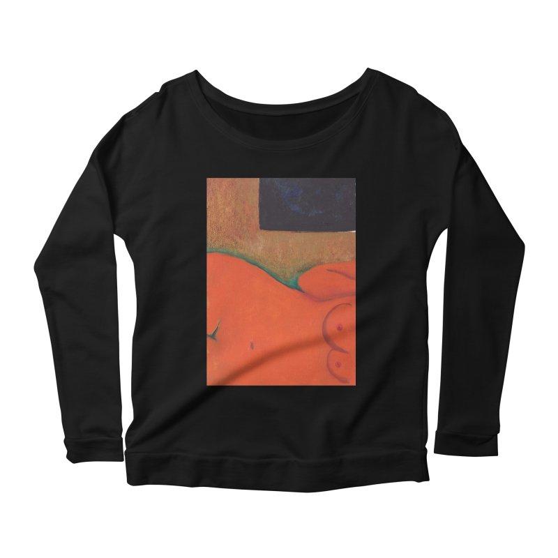 Orange Reclining Nude on Sofa Panel C Women's Longsleeve T-Shirt by duocuspdesign Artist Shop