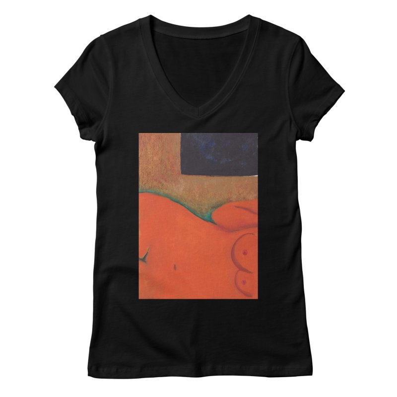 Orange Reclining Nude on Sofa Panel C Women's V-Neck by duocuspdesign Artist Shop