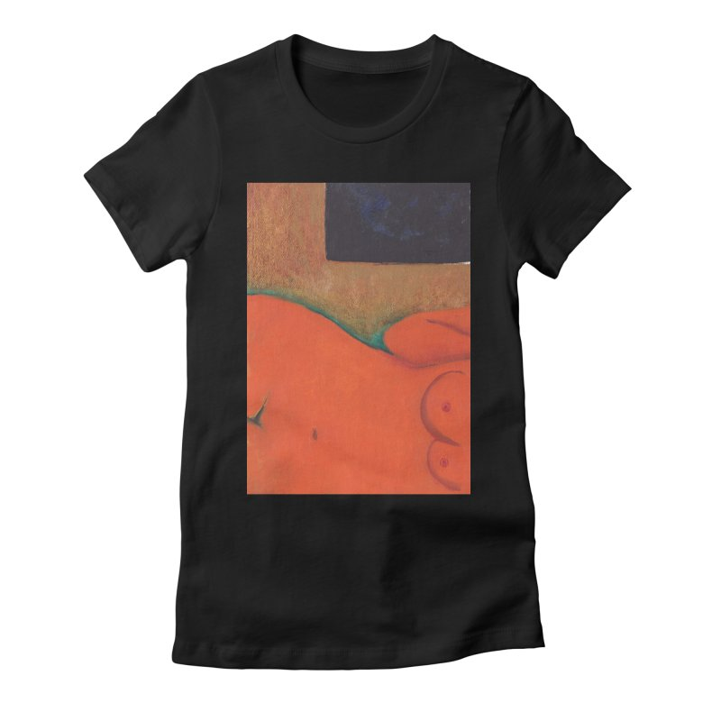 Orange Reclining Nude on Sofa Panel C Women's T-Shirt by duocuspdesign Artist Shop