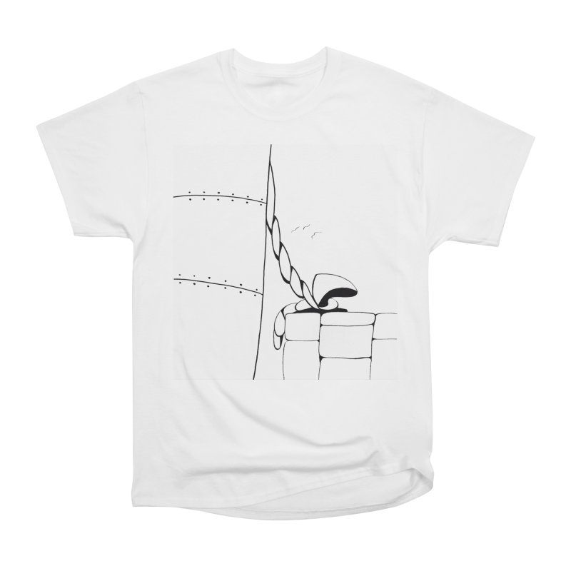 Tied to Dock/Nautical Drawing Men's Heavyweight T-Shirt by duocuspdesign Artist Shop