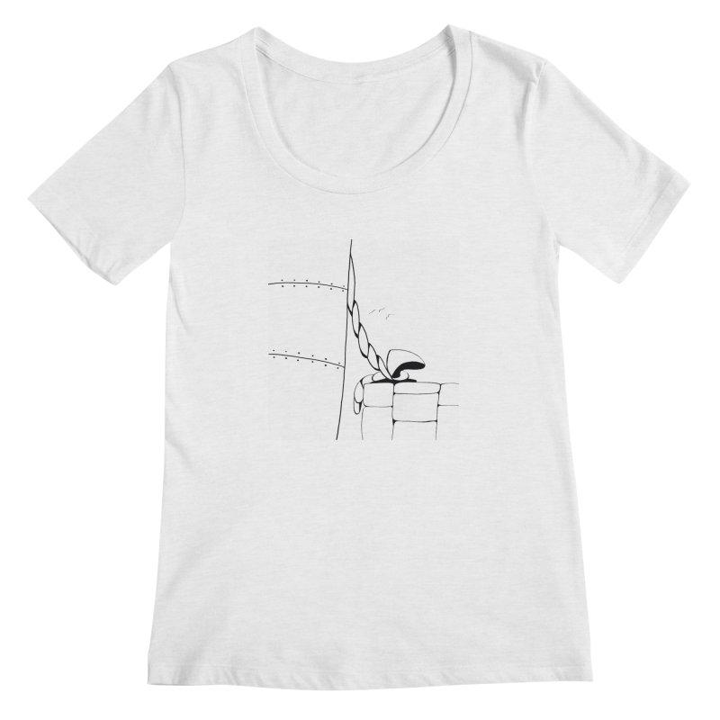 Tied to Dock/Nautical Drawing Women's Regular Scoop Neck by duocuspdesign Artist Shop
