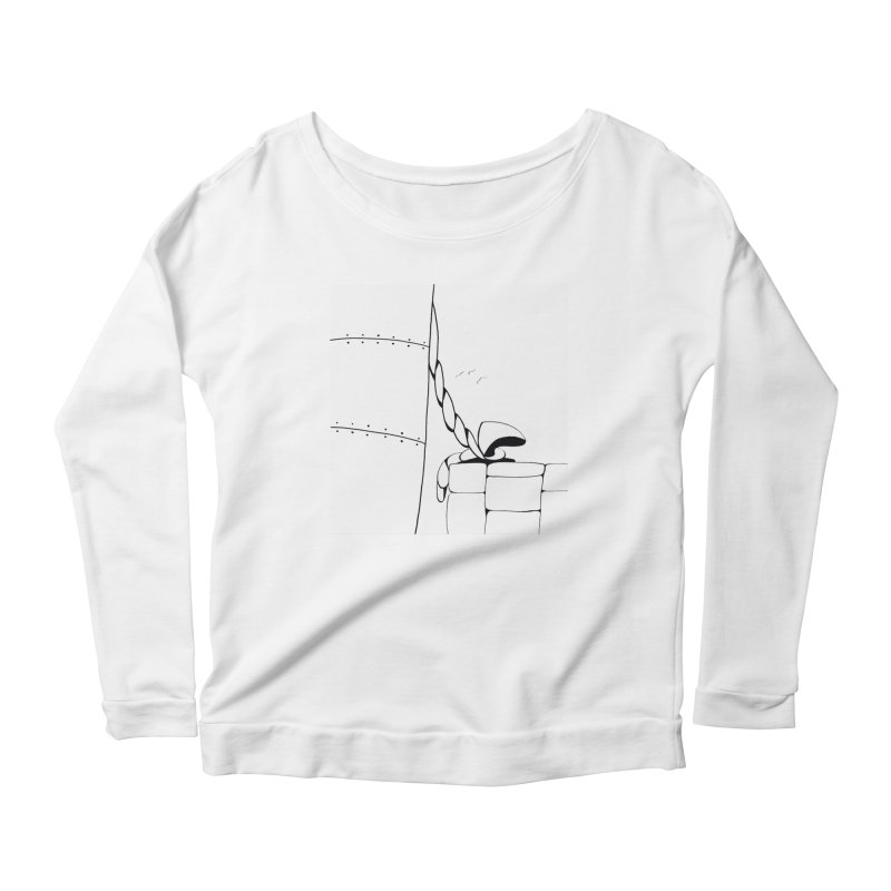Tied to Dock/Nautical Drawing Women's Scoop Neck Longsleeve T-Shirt by duocuspdesign Artist Shop