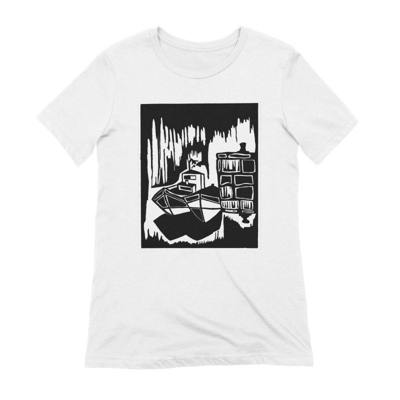 Moored/Nautical Woodcut Women's Extra Soft T-Shirt by duocuspdesign Artist Shop
