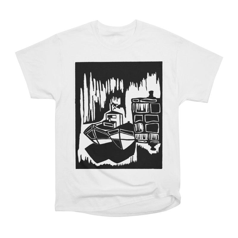 Moored/Nautical Woodcut Women's T-Shirt by duocuspdesign Artist Shop