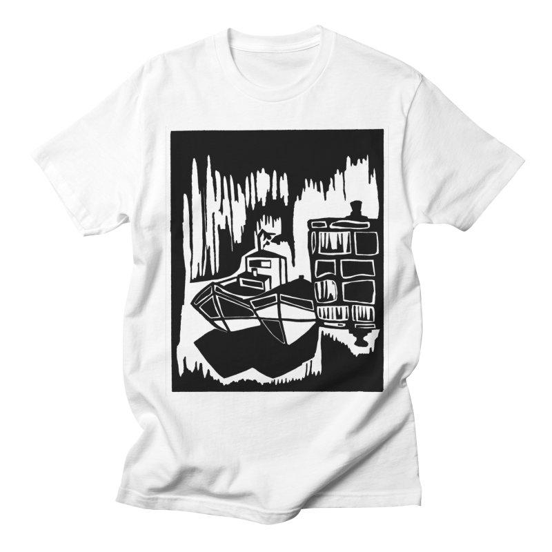 Moored/Nautical Woodcut Men's T-Shirt by duocuspdesign Artist Shop