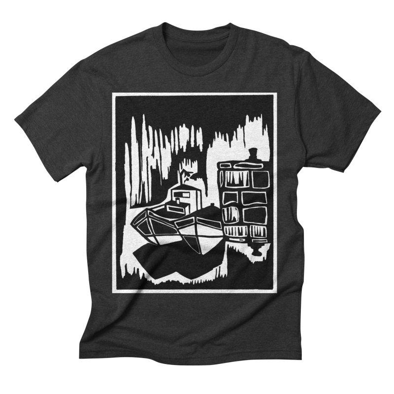 Moored/Nautical Woodcut Men's Triblend T-Shirt by duocuspdesign Artist Shop