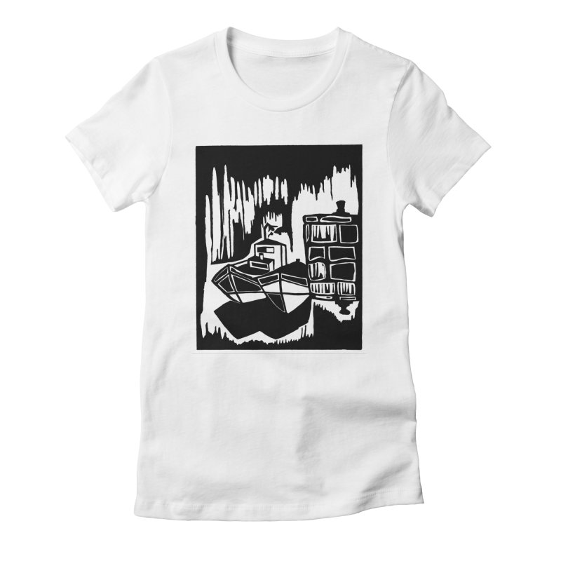 Moored/Nautical Woodcut Women's Fitted T-Shirt by duocuspdesign Artist Shop