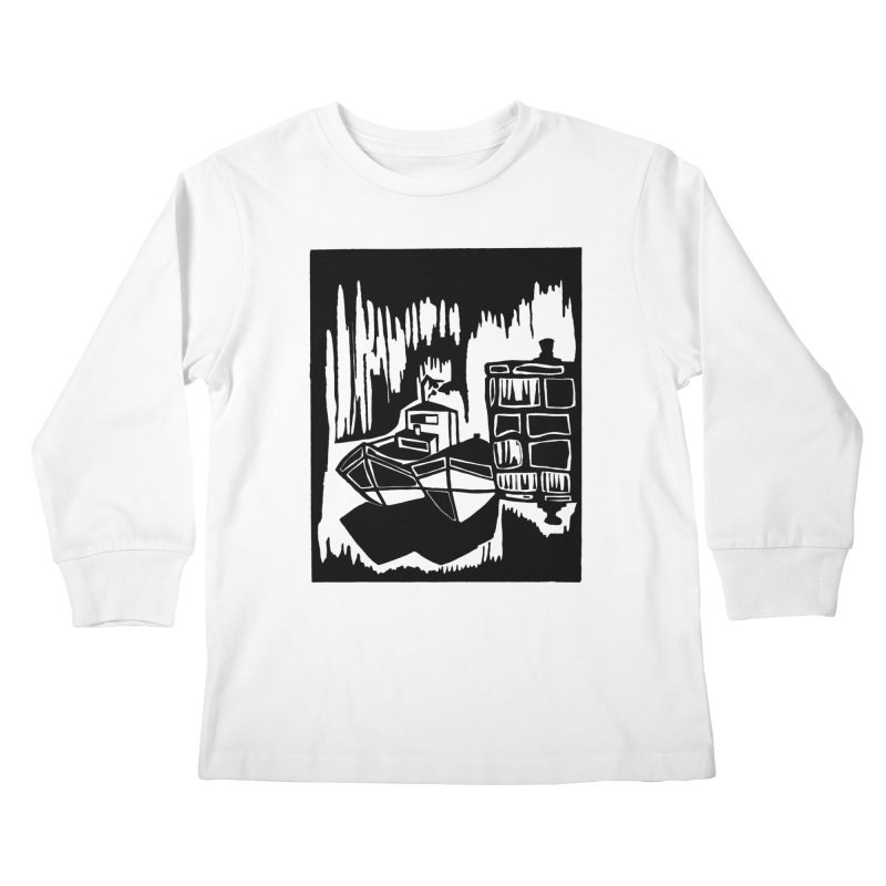 Moored/Nautical Woodcut Kids Longsleeve T-Shirt by duocuspdesign Artist Shop