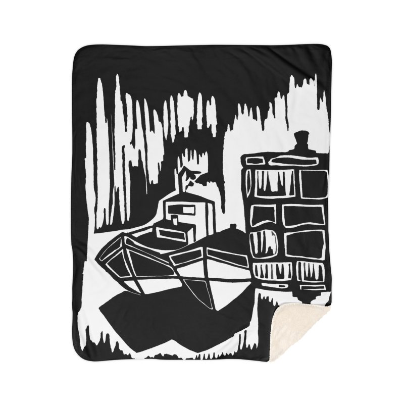 Moored/Nautical Woodcut Home Sherpa Blanket Blanket by duocuspdesign Artist Shop