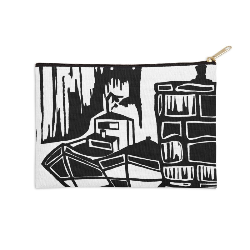 Moored/Nautical Woodcut Accessories Zip Pouch by duocuspdesign Artist Shop