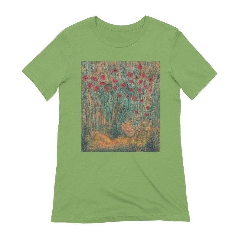 Poppies in a Field on High Grass Women's Extra Soft T-Shirt by duocuspdesign Artist Shop
