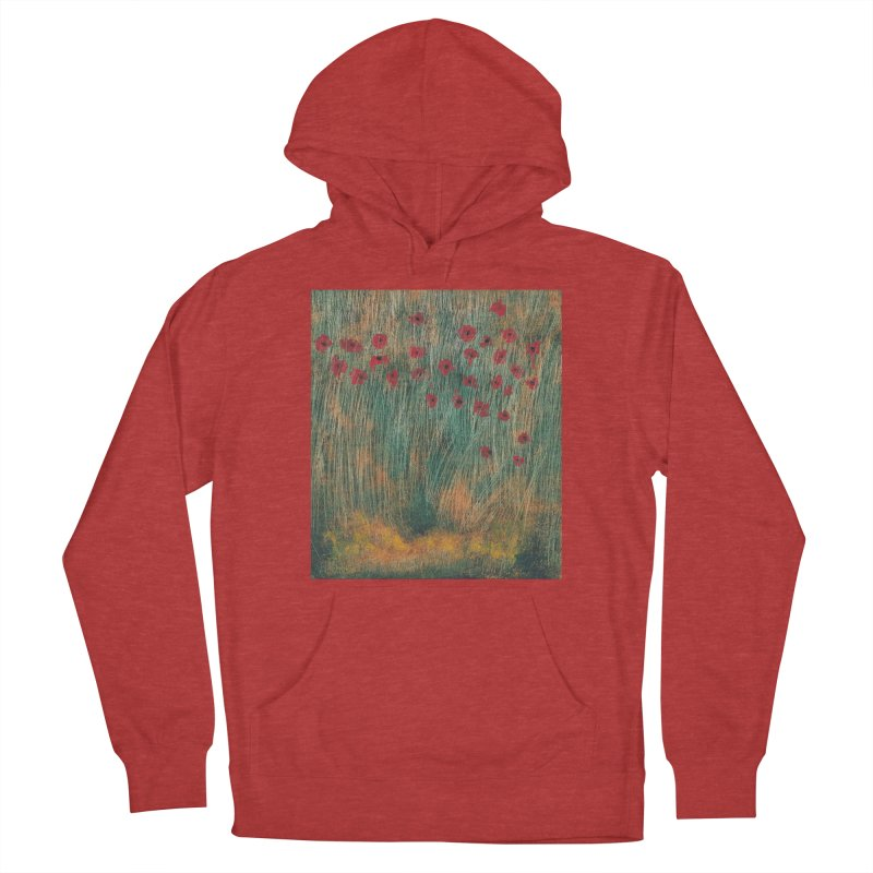 Poppies in a Field on High Grass Women's French Terry Pullover Hoody by duocuspdesign Artist Shop