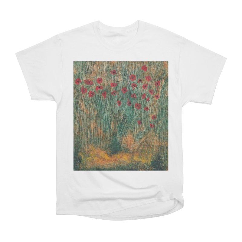 Poppies in a Field on High Grass Women's Heavyweight Unisex T-Shirt by duocuspdesign Artist Shop