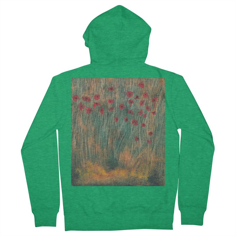 Poppies in a Field on High Grass Women's French Terry Zip-Up Hoody by duocuspdesign Artist Shop