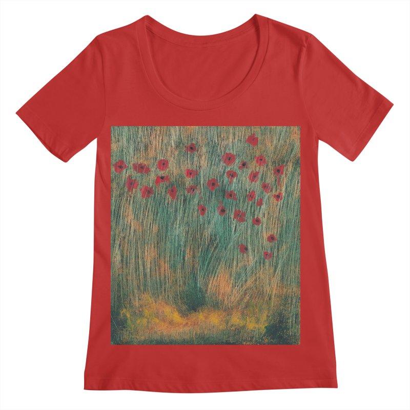 Poppies in a Field on High Grass Women's Regular Scoop Neck by duocuspdesign Artist Shop