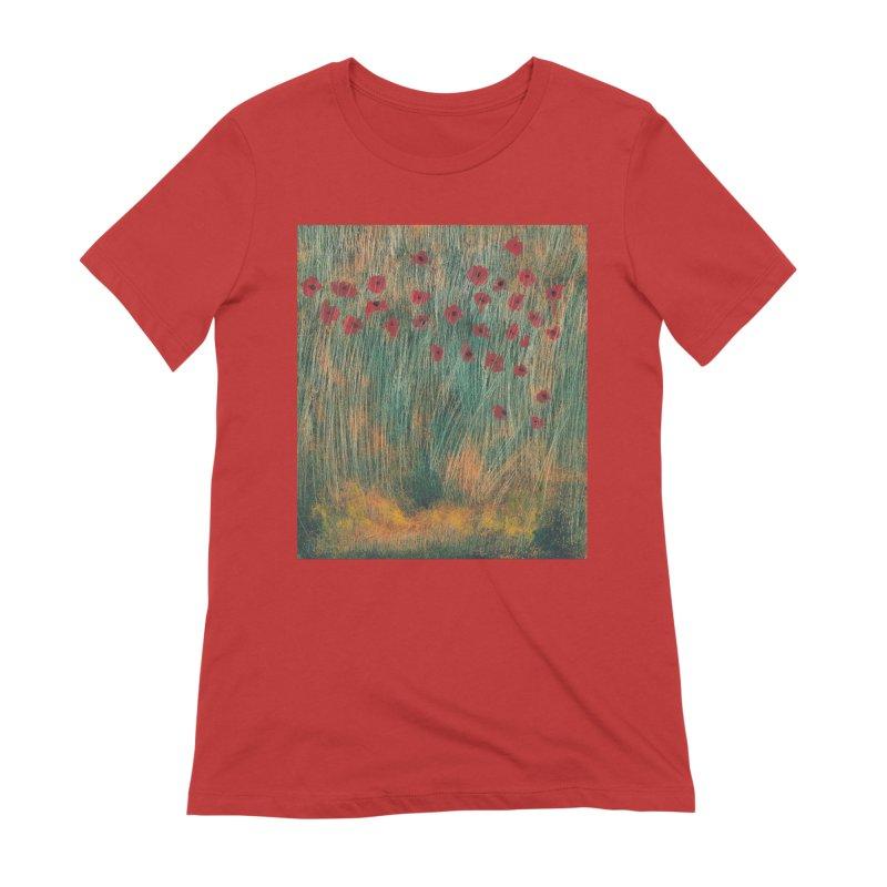 Poppies in a Field on High Grass Women's T-Shirt by duocuspdesign Artist Shop