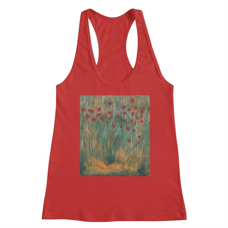 Poppies in a Field on High Grass Women's Racerback Tank by duocuspdesign Artist Shop