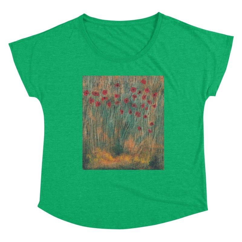 Poppies in a Field on High Grass Women's Dolman Scoop Neck by duocuspdesign Artist Shop