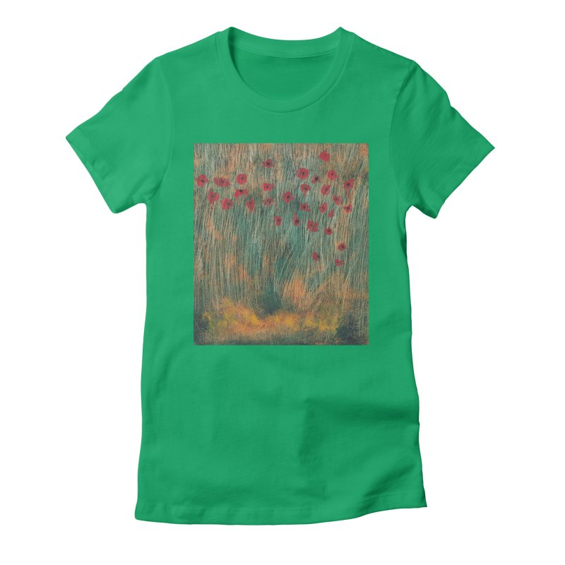 Poppies in a Field on High Grass Women's Fitted T-Shirt by duocuspdesign Artist Shop