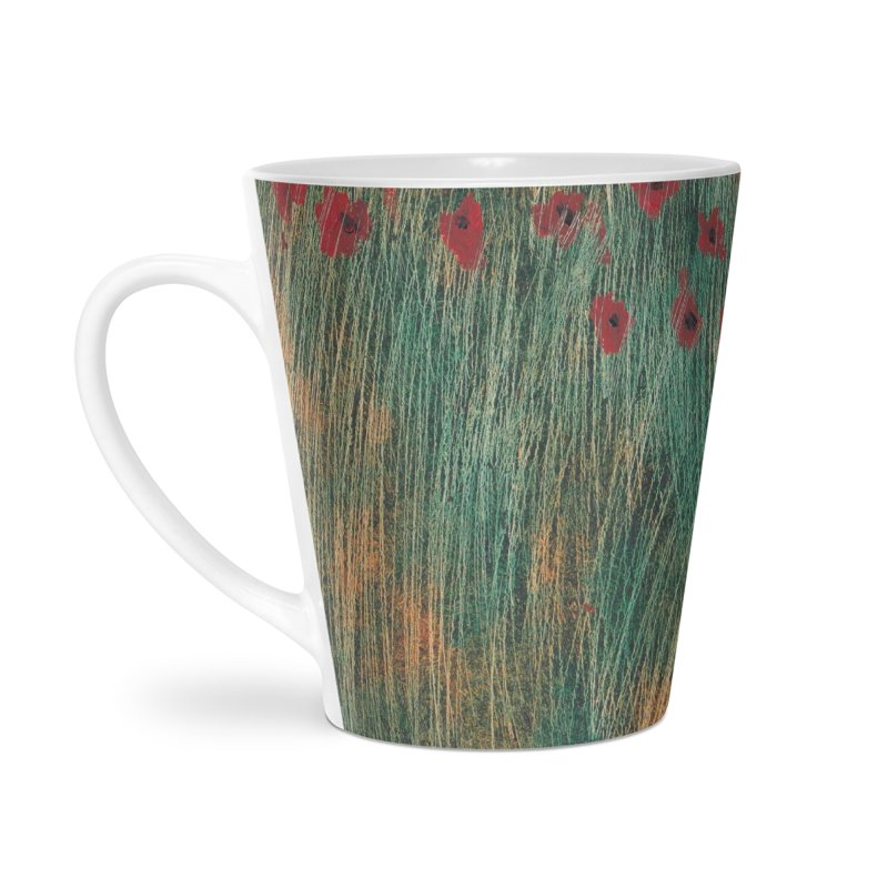 Poppies in a Field on High Grass Accessories Latte Mug by duocuspdesign Artist Shop