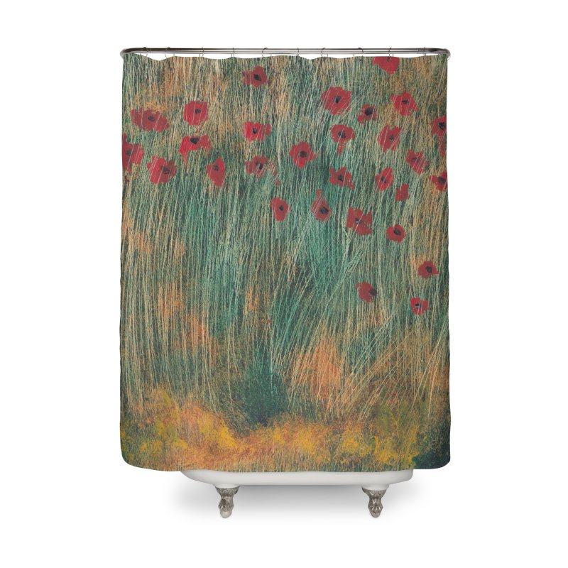 Poppies in a Field on High Grass Home Shower Curtain by duocuspdesign Artist Shop