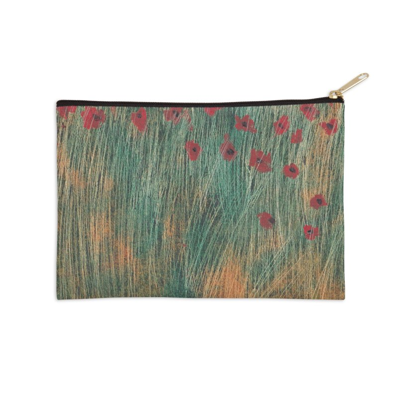 Poppies in a Field on High Grass Accessories Zip Pouch by duocuspdesign Artist Shop