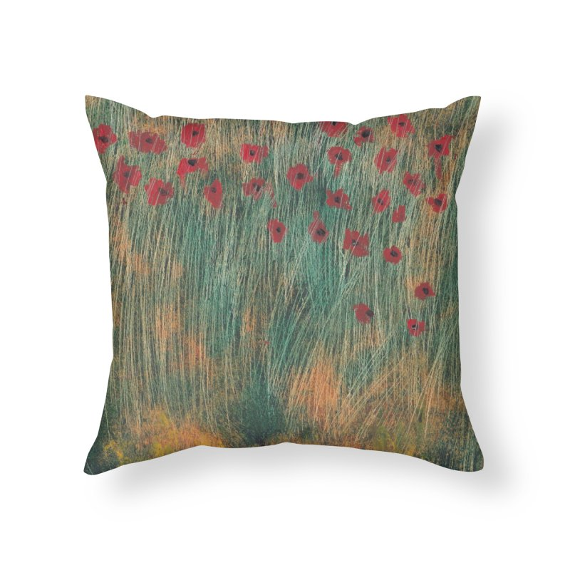 Poppies in a Field on High Grass Home Throw Pillow by duocuspdesign Artist Shop