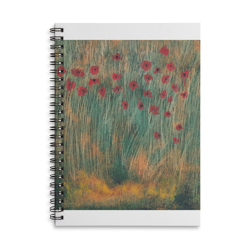 Poppies in a Field on High Grass Accessories Notebook by duocuspdesign Artist Shop
