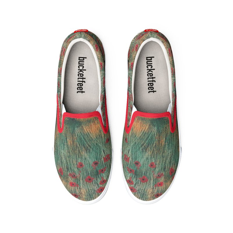 Poppies in a Field on High Grass Women's Shoes by duocuspdesign Artist Shop