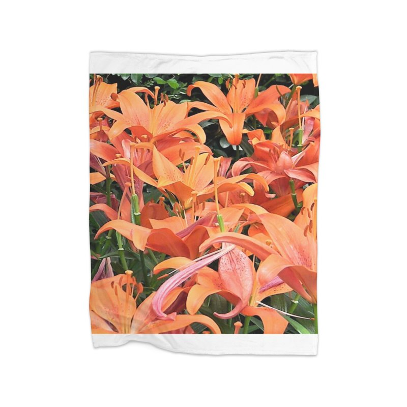Orange Lilies Home Fleece Blanket Blanket by duocuspdesign Artist Shop