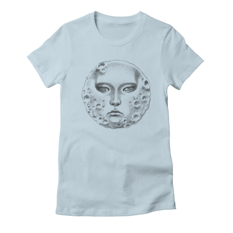 the moon Women's Fitted T-Shirt by Dustin Nguyen's Artist Shop