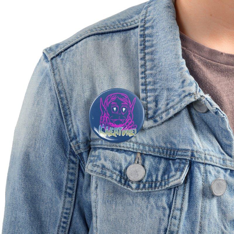 Creature electro 80's style Accessories Button by dustinmckamie's Artist Shop