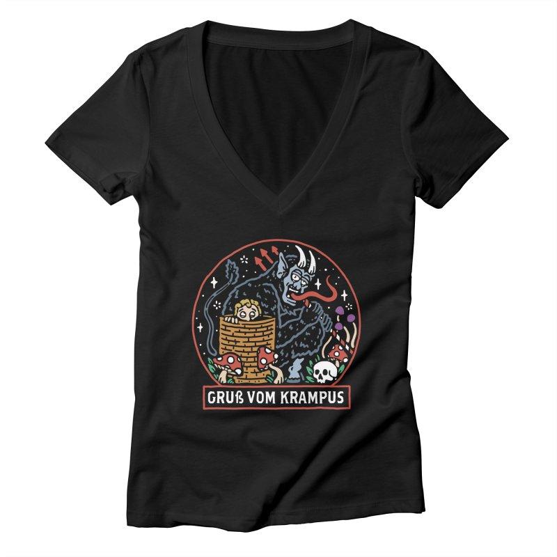 Gruß vom Krampus Women's V-Neck by dustinwyattdesign's Shop