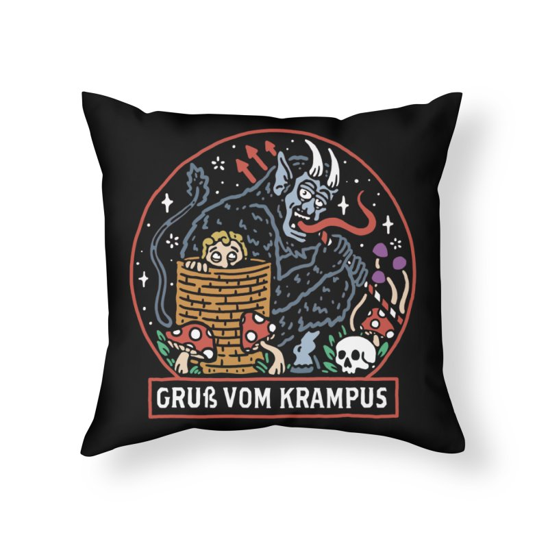 Gruß vom Krampus Home Throw Pillow by dustinwyattdesign's Shop