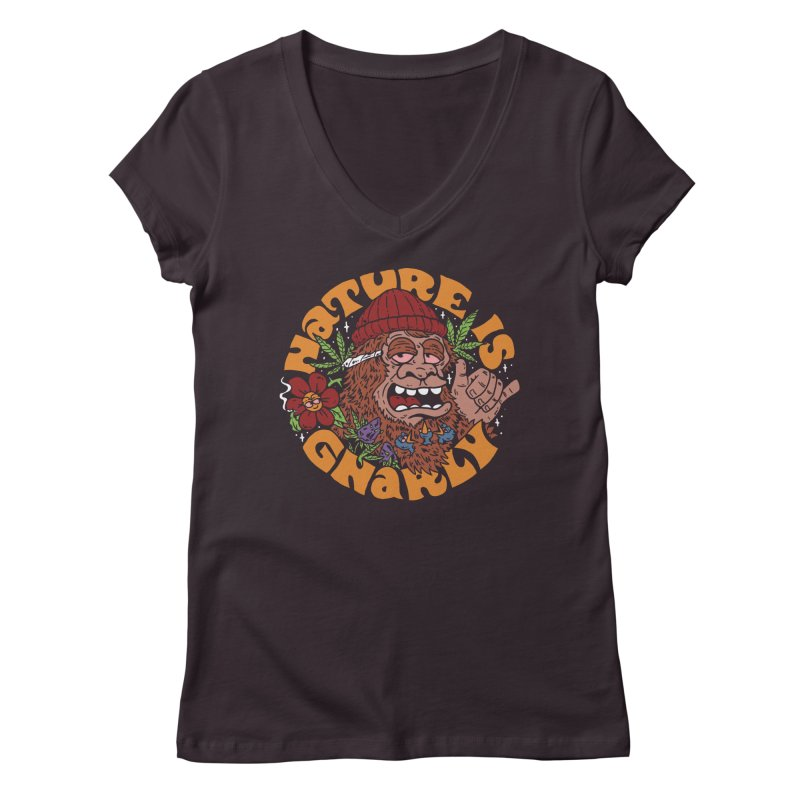 Nature is Gnarly Women's V-Neck by dustinwyattdesign's Shop