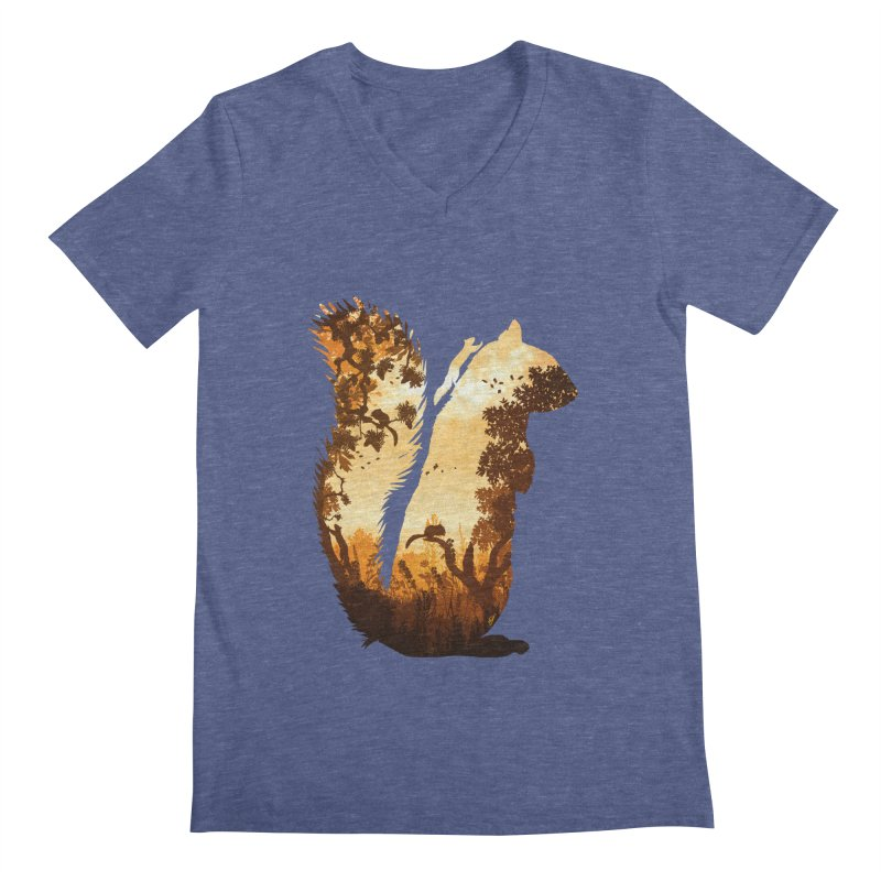 Squirrels in the Fall Men's Regular V-Neck by DVerissimo's