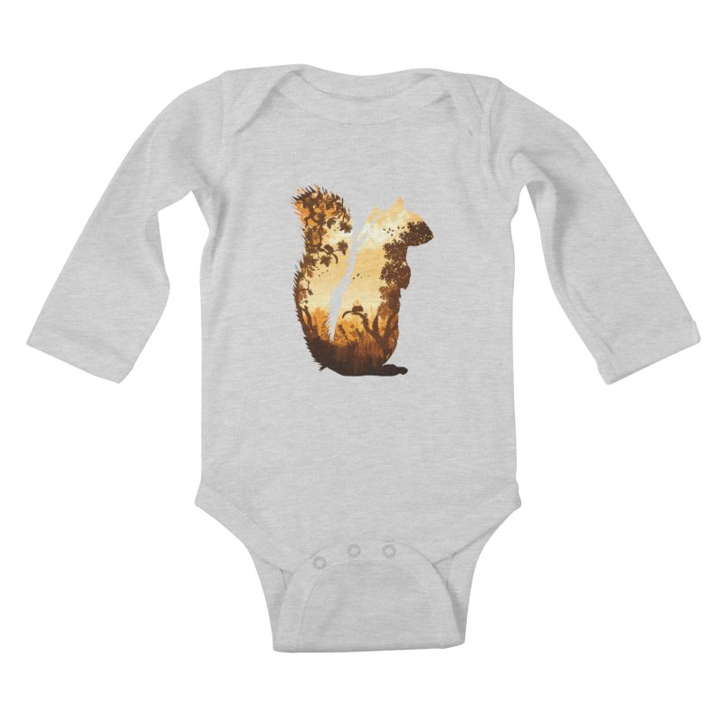 Squirrels in the Fall Kids Baby Longsleeve Bodysuit by DVerissimo's
