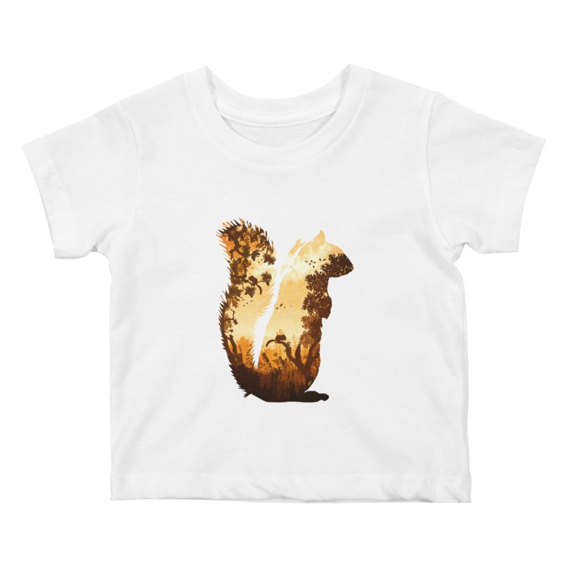 Squirrels in the Fall Kids Baby T-Shirt by DVerissimo's