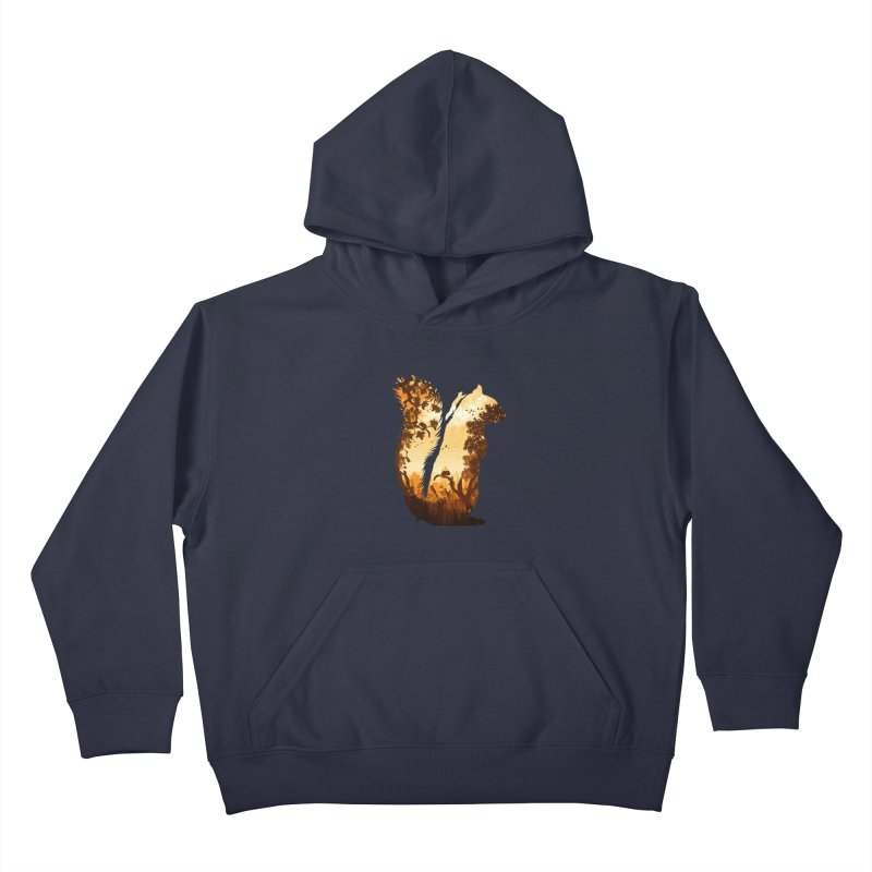 Squirrels in the Fall Kids Pullover Hoody by DVerissimo's