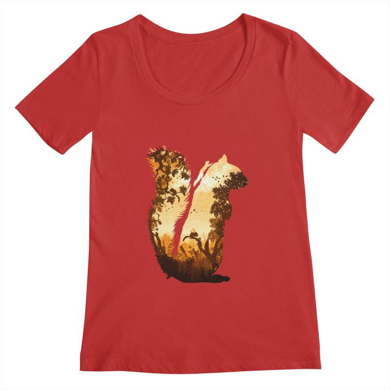 Squirrels in the Fall Women's Regular Scoop Neck by DVerissimo's