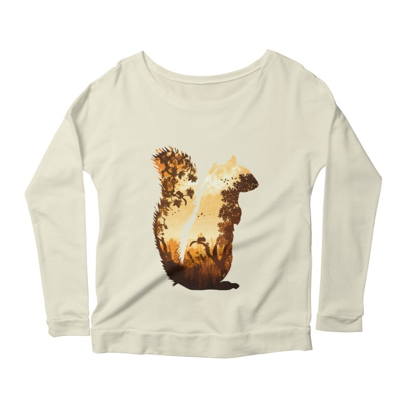 Squirrels in the Fall Women's Longsleeve Scoopneck  by DVerissimo's