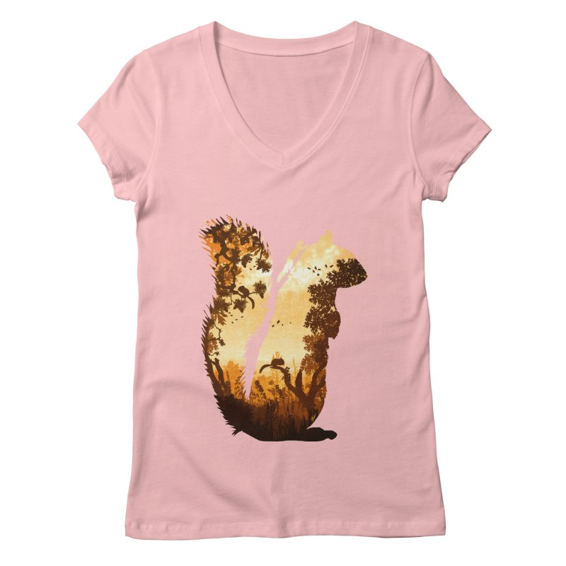 Squirrels in the Fall Women's Regular V-Neck by DVerissimo's